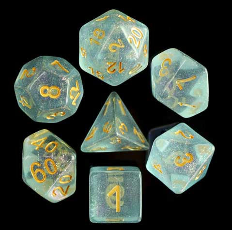 Iridecent Blue with gold font Set of 7 Dice