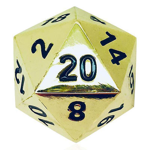 Boulder: Metal D20 - Shiny Gold with black font