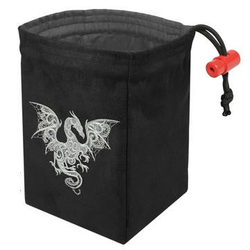 Red King Dice Bag: Black Suede Baroque Smoke Dragon