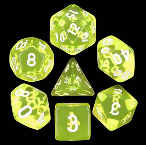 Transparent Lemon with white font Set of 7 Dice