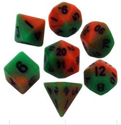 Orange | Green w black font Set of 7 Mini dice