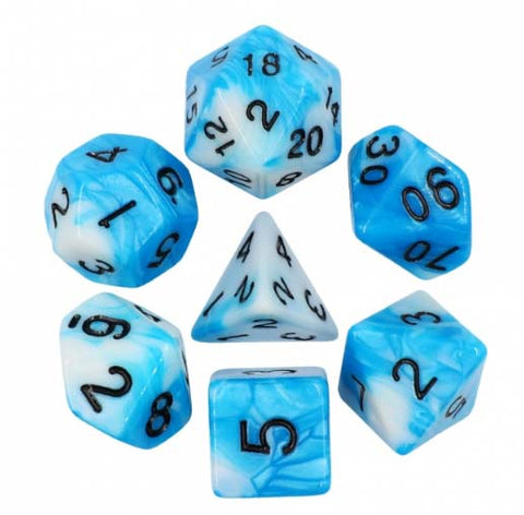 Blend Blue White with black font Set of 7 Dice