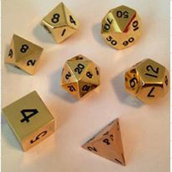 Metallic Shiny Gold with black font 7 Dice Set