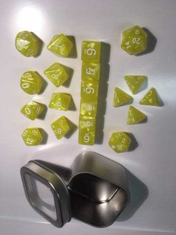 "Pearl Bright Yellow with white font Set of 20 ""Pandy Dice"""