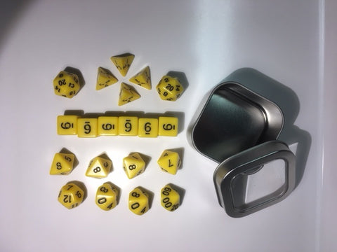 "Opaque Yellow with black font Set of 20 ""Pandy Dice"""