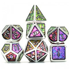 Photosensitive Purple Green w silver edges and font metal 7 Dice Set