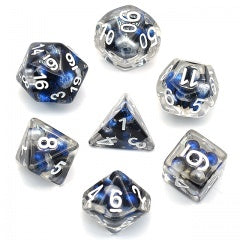 Floating Pearls Black Blue Silver w white font 7 Dice Set