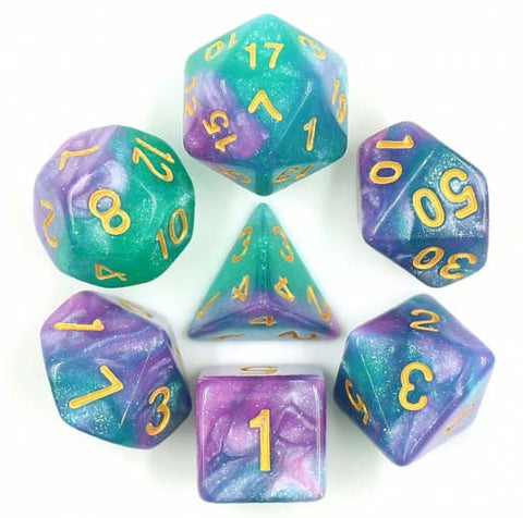Aurora Pastel Purple Teal with gold font Set of 7 Dice