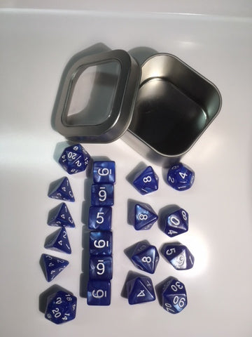 "Pearl Blue with white font Set of 20 ""Pandy Dice"""