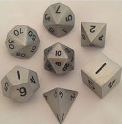 Metallic Antique Silver with black font 7 Dice Set