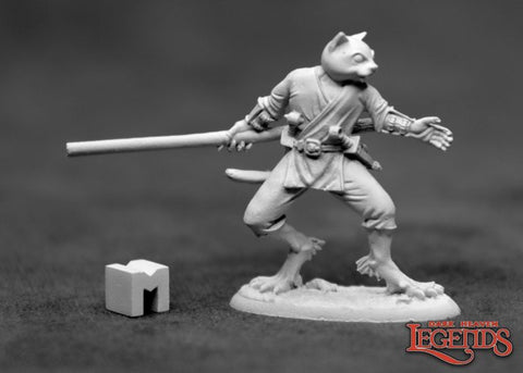 Dark Heaven Legends Mini: Swiftpaw, Catfolk Monk [Reaper 3923]