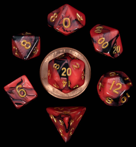 Red | Black with gold font Set of 7 Mini dice