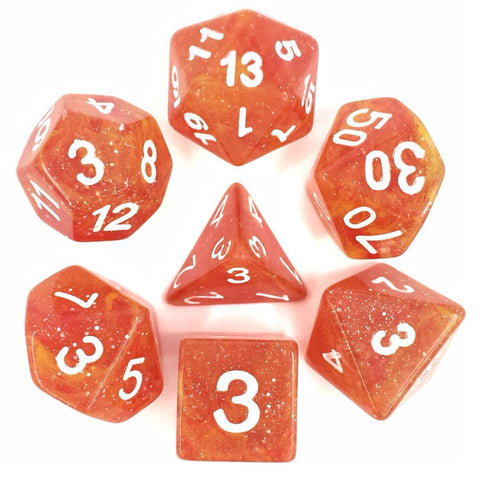 Galaxy Yellow Red with white font Set of 7 Dice