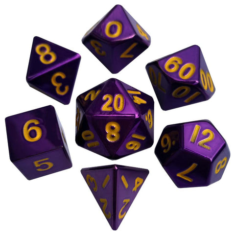 Painted Metal Purple with gold font 7 Dice Set