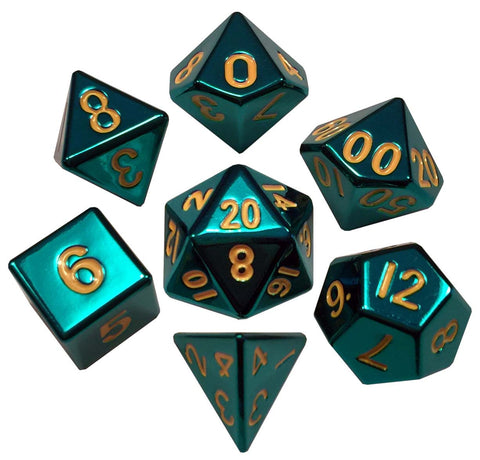 Painted Metal Turquoise with yellow font 7 Dice Set
