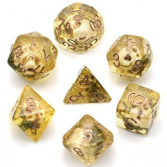 Amber Skull Dice with seaweed and glitter w copper font 7 Dice Set