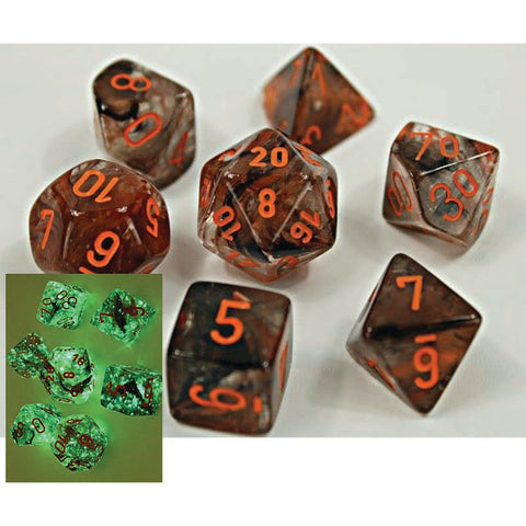 Lab Dice 4: Nebula Copper Matrix with orange font 7 Dice Set (8 dice) Glow [CHX30040]