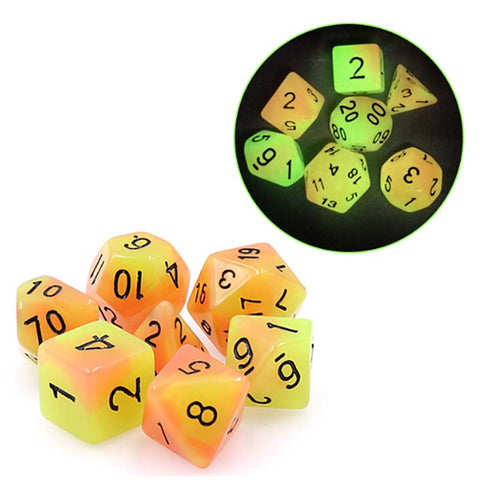 Glow in the Dark Blend Yellow+Orange with black font Set of 7 Dice