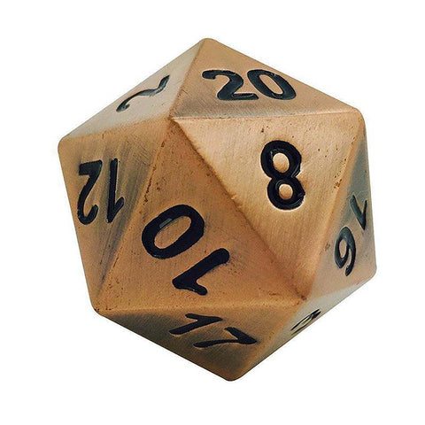 Boulder: Metal D20 - Antique Copper with black font
