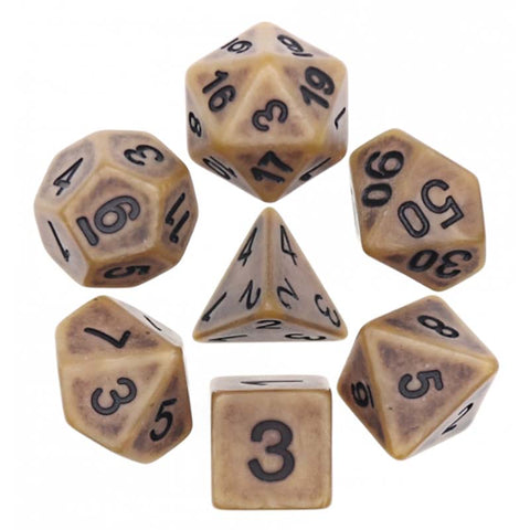 Ancient Gold with black font Set of 7 Dice