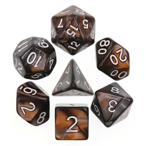 Blend Gold Silver with white font Set of 7 Dice