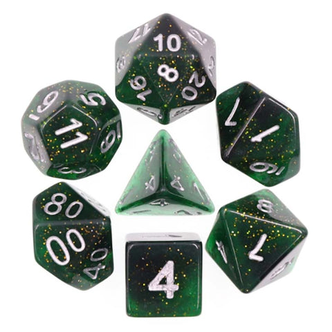 Glitter Dark Green with silver font Set of 7 Dice