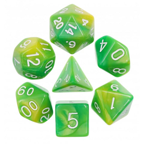 Blend Green Yellow with white font Set of 7 Dice