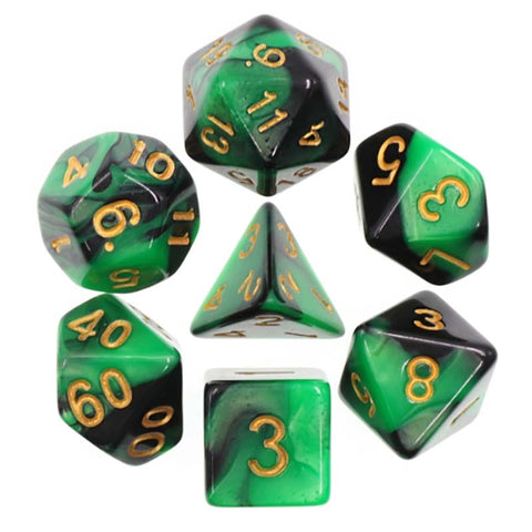 Blend Green Black with gold font Set of 7 Dice