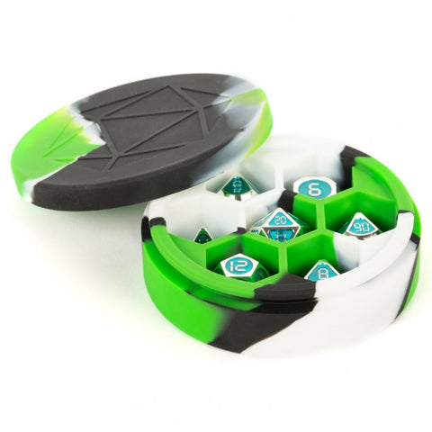 Silicone Round Dice Case: Green Black White (holds 1 set of dice)