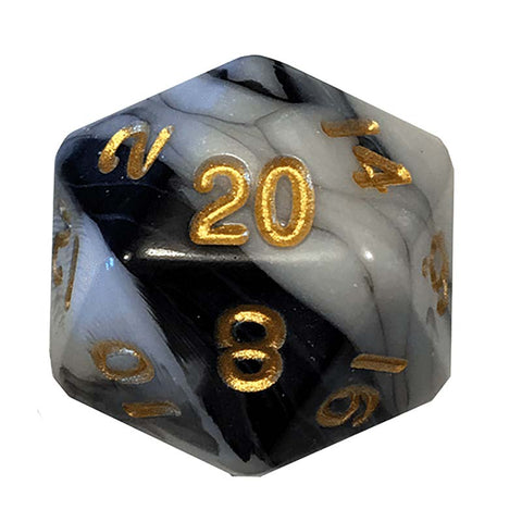 35mm Mega Acrylic 1d20 Die - Marble w gold font
