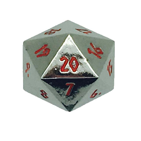 Metal Countdown D20 - Black with red font