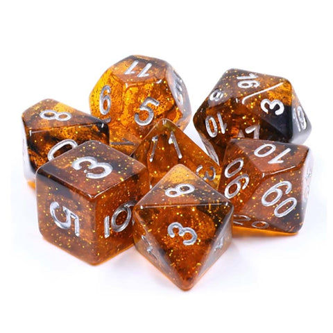 Glitter Amber Resin with silver font Set of 7 Dice