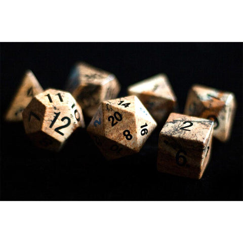 16mm Picture Jasper Set of 7 Gemstone dice
