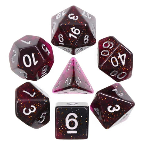 Glitter Purple with silver font Set of 7 Dice