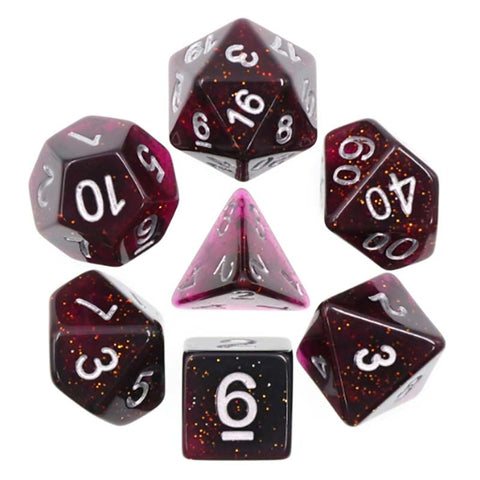 Glitter Deep Pink with silver font Set of 7 Dice