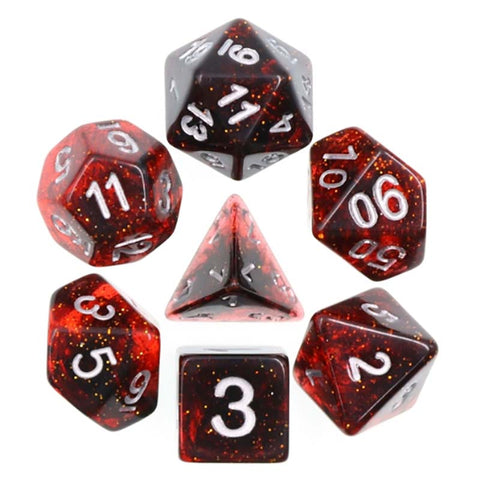 Glitter Deep Red with silver font Set of 7 Dice