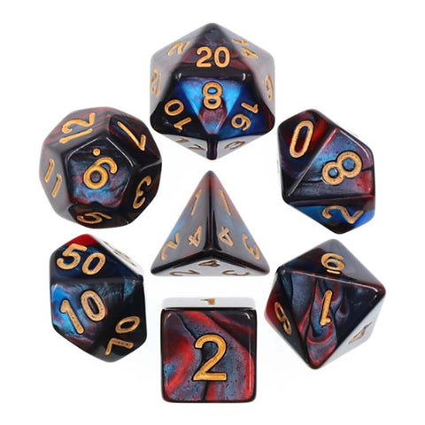 Blend Red Blue with gold font Set of 7 Dice