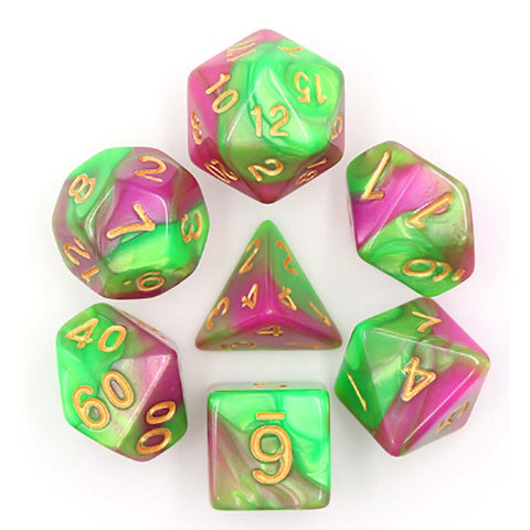 Blend Rose Red Green with gold font Set of 7 Dice