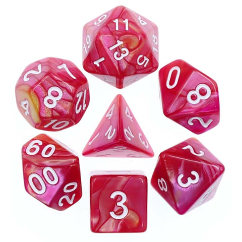 Blend Yellow Rose Red with white font Set of 7 Dice