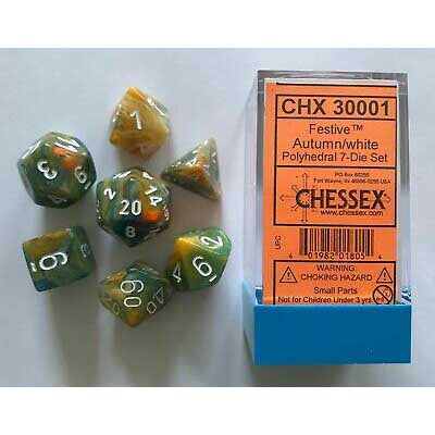 Lab Dice 1: Festive Autumn with white font 7 Dice Set Glow oop [CHX30001]