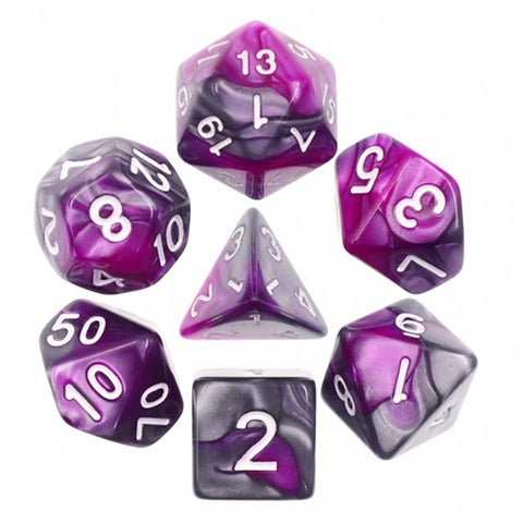 Blend Silver Purple with white font Set of 7 Dice
