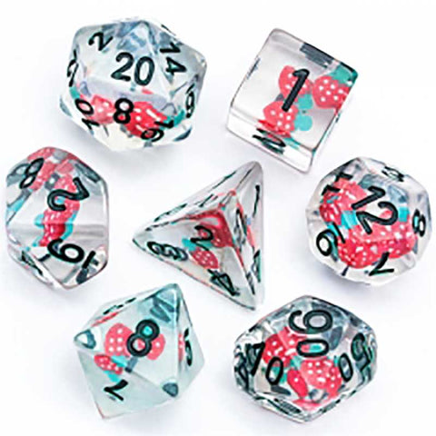Floating Strawberries Dice w black font 7 Dice Set