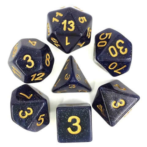 "Glitter ""Universe"" Navy with gold font Set of 7 Dice"