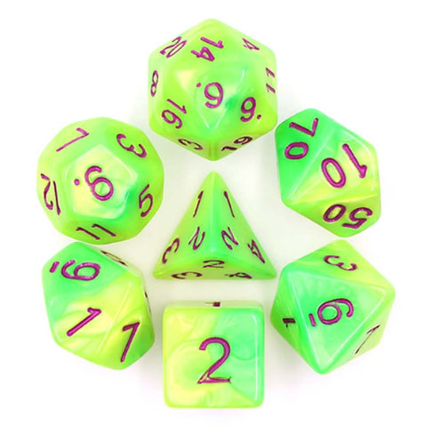 Blend Yellow Green with red font Set of 7 Dice