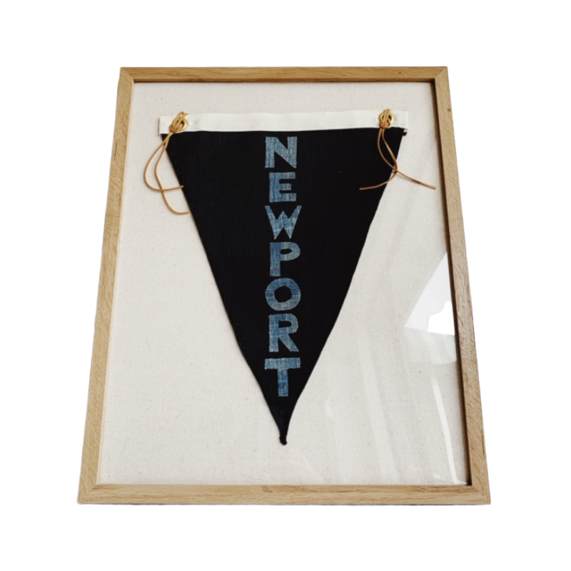 "CUSTOM ORDER - NEWPORT BEACH- Framed Pennant Style Textile Art (16 X 20"") - Bird + Belle"