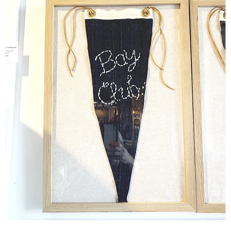 Bay Club- Framed Pennant Style Textile Art (13x19