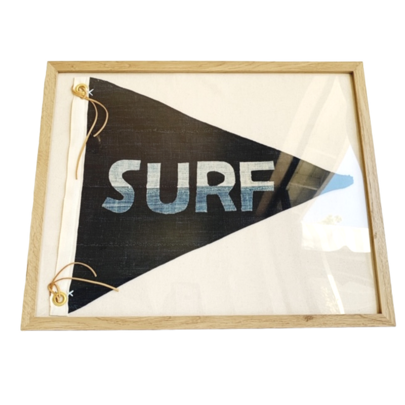 BB - 16x20 TONAL SURF Pennant Textile Art (H) - Bird + Belle
