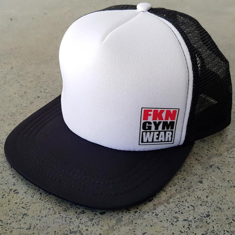 Black-and-white-fkn-gym-wear-trucker-cap-usa