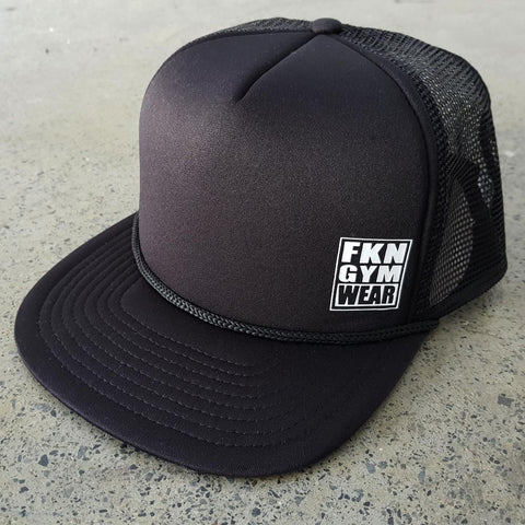 Black-fkn-gym-wear-trucker-cap-usa