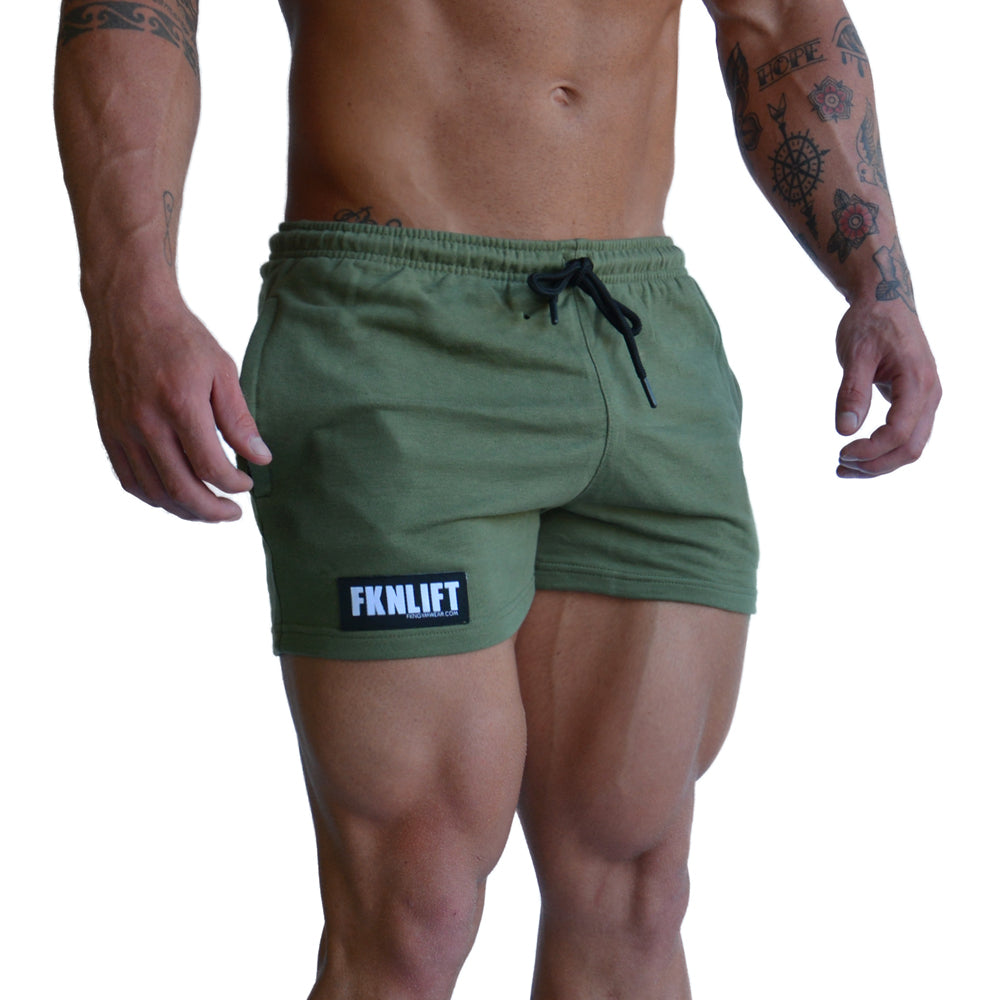 men's-khaki-FKNLIFT-shorts-FKN-Gym-Wear-USA